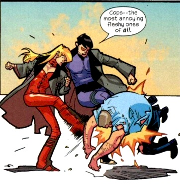 Tabitha Smith (Giant-Size X-Men 015) makes a close combat attack and uses Warbound to give the token to adjacent friendly character more than half her 58-point cost, Aaron Stack (Giant-Size X-Men 016). He then pushes to make a close combat attack of his own because he's Indomitable and can use Willpower. Tabby will be free next turn to act — say, setting her Timebombs in distant squares or just making a ranged attack, because no generic cop HeroClix figure is standing up after getting kicked for 3 damage twice in a row.  (Dont' worry, it's OK, it's a BAD cop they're kicking.)