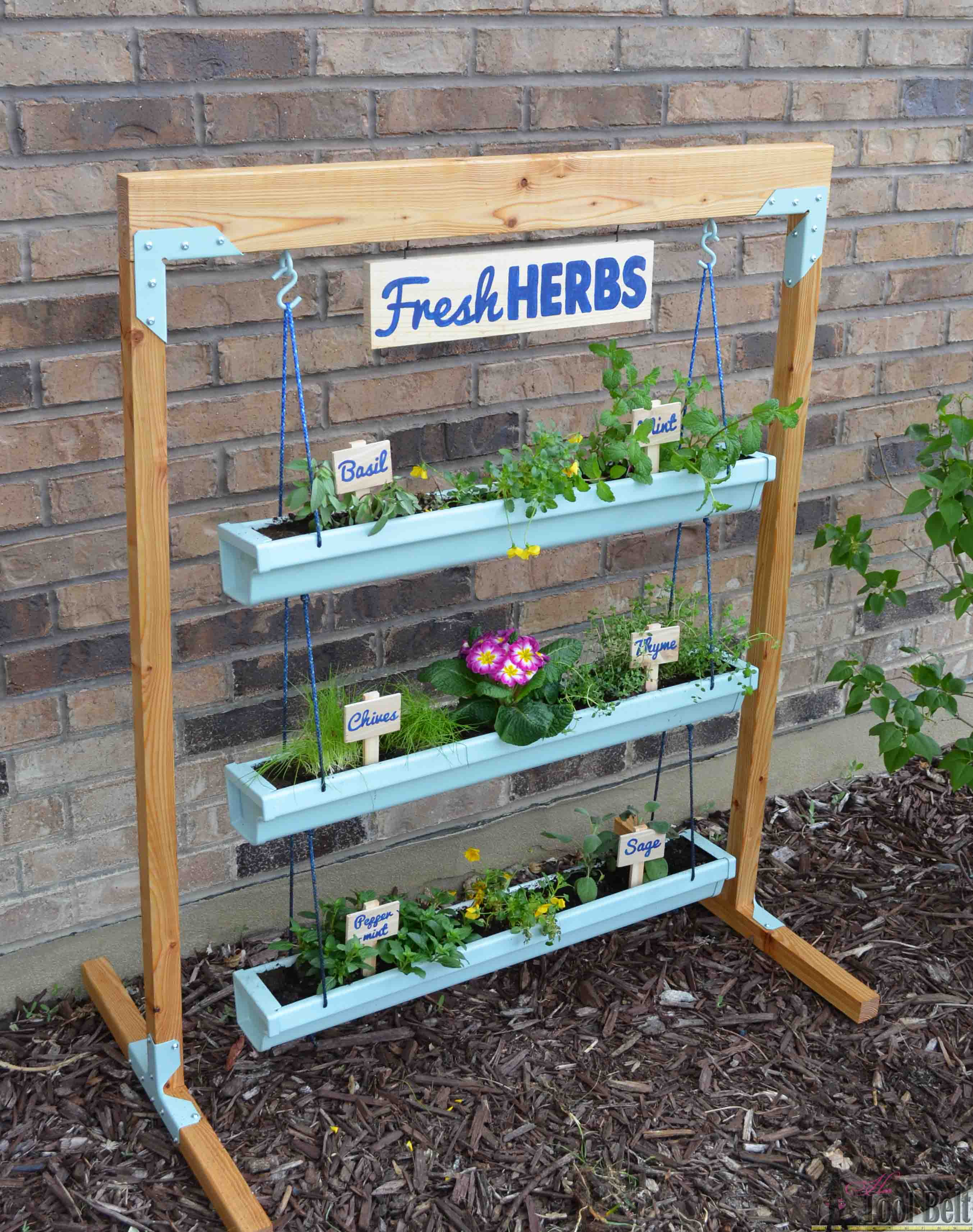 Build Plant Stand Hanging Gutter Planter And Stand Her Tool Belt
