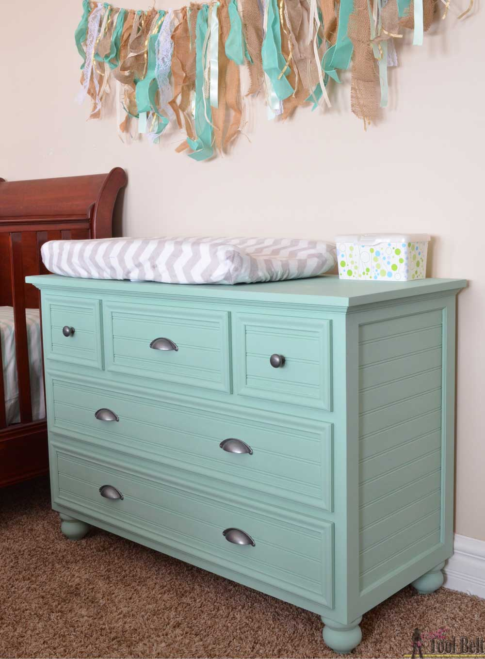 Changing Table Chest Of Drawers 5 Drawer Dresser Changing Table Her Tool Belt