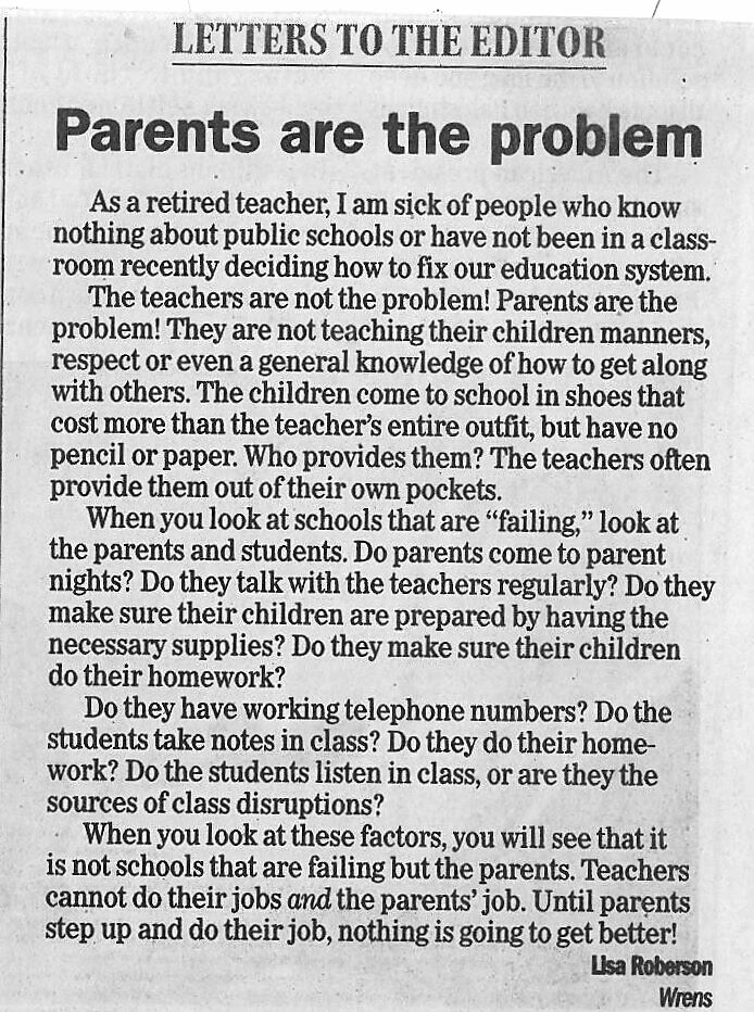 Teacher Responds To Viral \u201cParents Are The Problem\u201d Letter \u2013 Her - letters to the parents