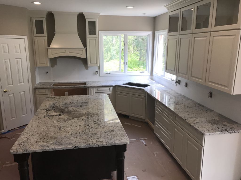 Two Tone Kitchen Cabinets With Black Granite White Ice Granite Counter Tops Countertops Hesano