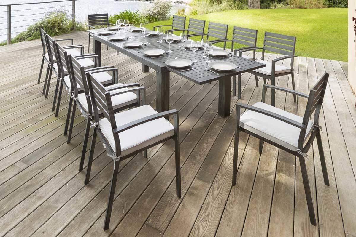 Table Et Chaises Jardin Hesperide | Fauteuil De Jardin Empilable ...