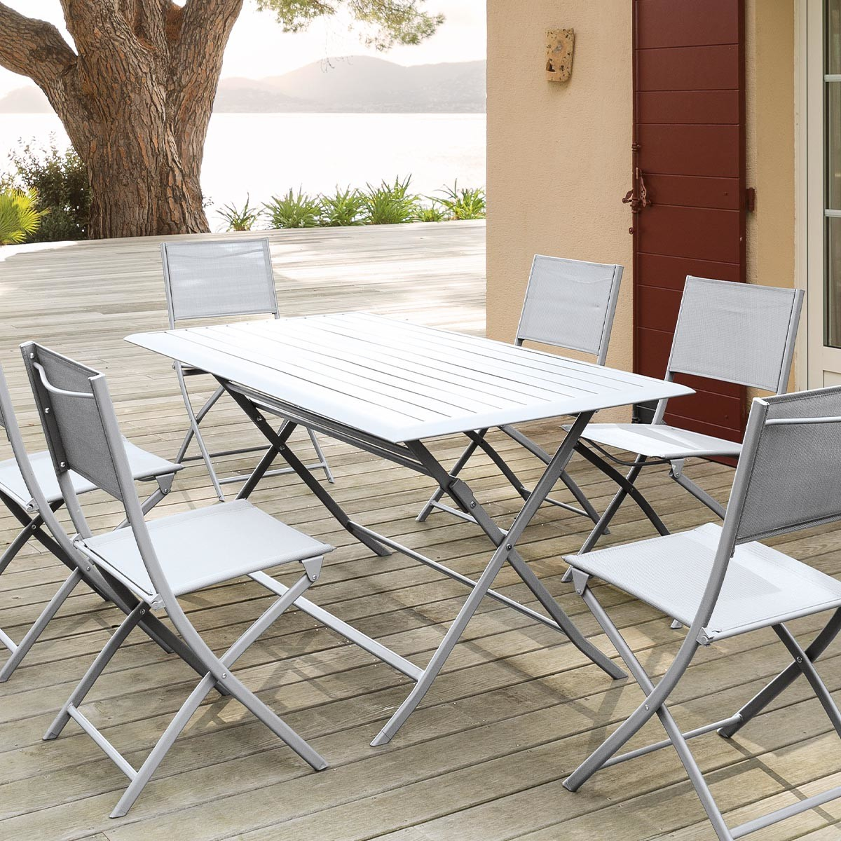 Table Pliante Exterieur Table De Jardin Pliante Rectangulaire Azua Silver Mat Hesperide