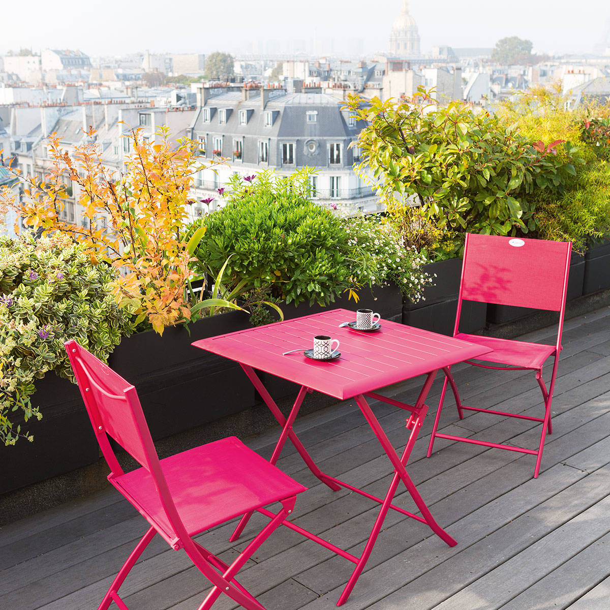 Table De Jardin Balcon Table De Balcon Pliante Carrée Azua Cerise Hespéride 2 Places