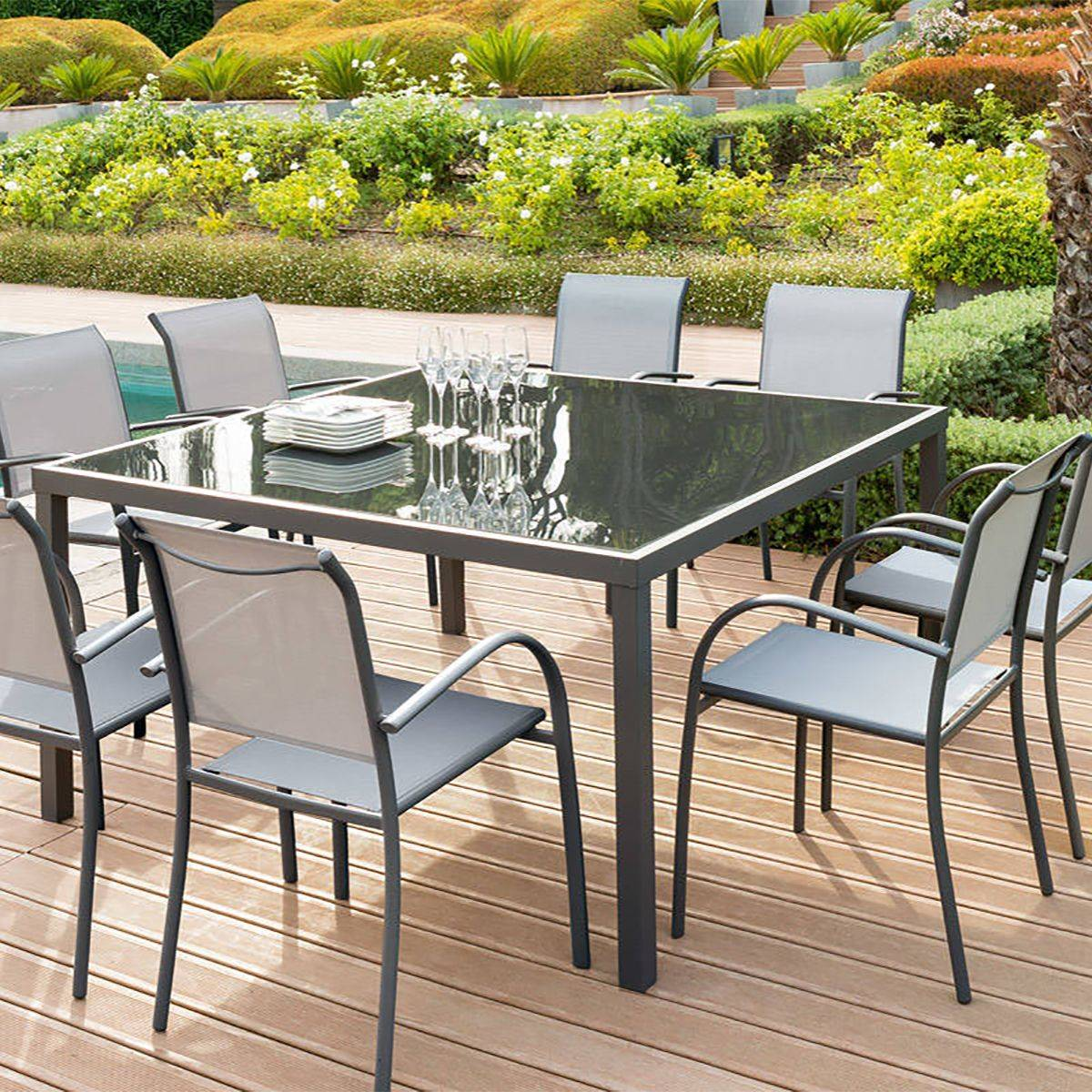 Salon De Jardin Chez Amazon Table Carrée Piazza Verre Anthracite Graphite Hespéride 8