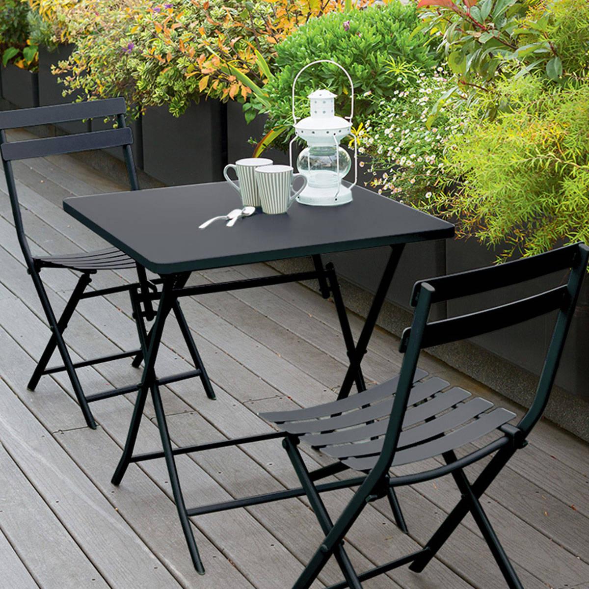 Table De Terrasse Carrée   Table Salon De Jardin Carrée 155cm Latino ...