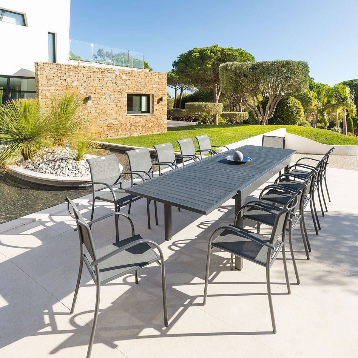 Truffaut Mobilier De Jardin Table De Jardin Extensible Piazza Anthracite U Gris Places