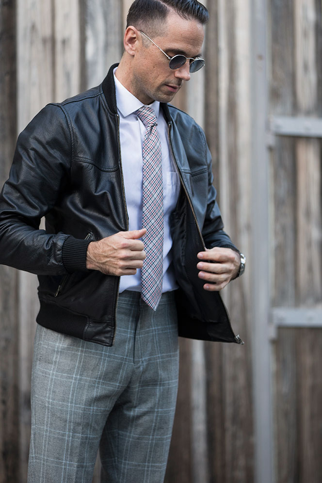 Dress Up Your Leather Jacket by Brian Sacawa | Details Style Syndicate