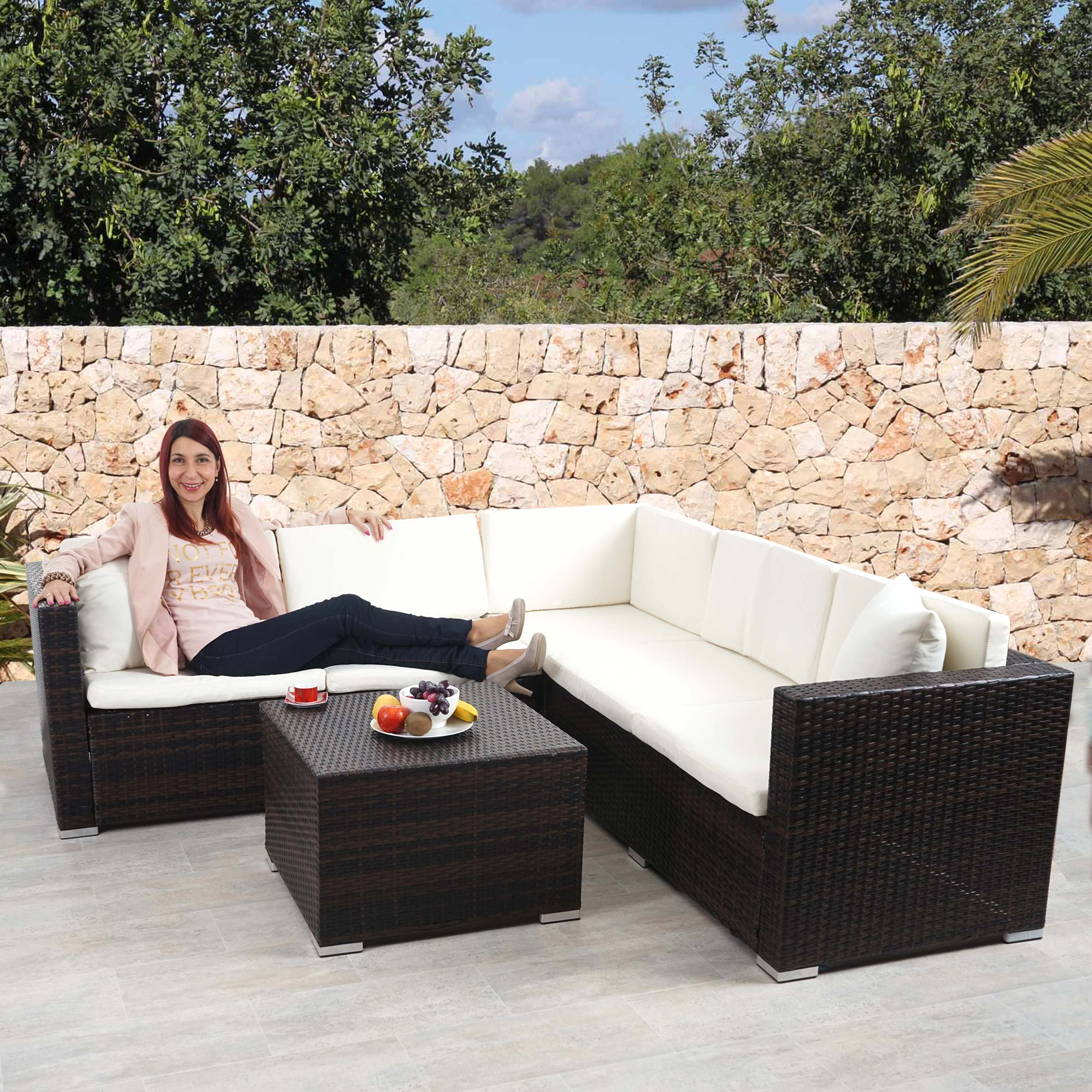 Poly-rattan Sofa-garnitur Rom Basic Poly Rattan Sofa Garnitur Rom Basic Sitzgruppe Lounge Set