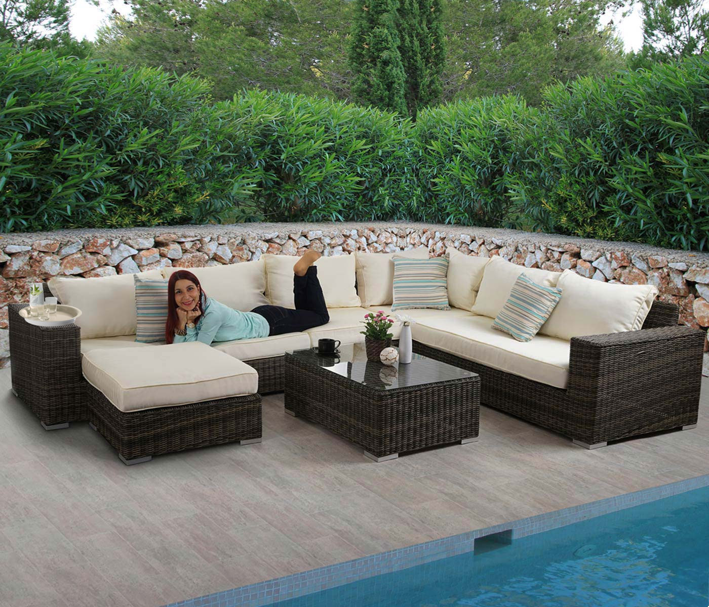 Lounge Set Rattan Luxus Poly-rattan Sofa-garnitur Bilbao, Lounge-set