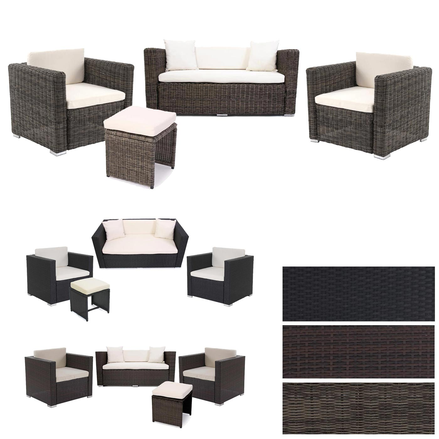 Poly-rattan Sofa-garnitur Rom Basic Poly Rattan Alu Sofa Garnitur Rom Basic Gartengarnitur