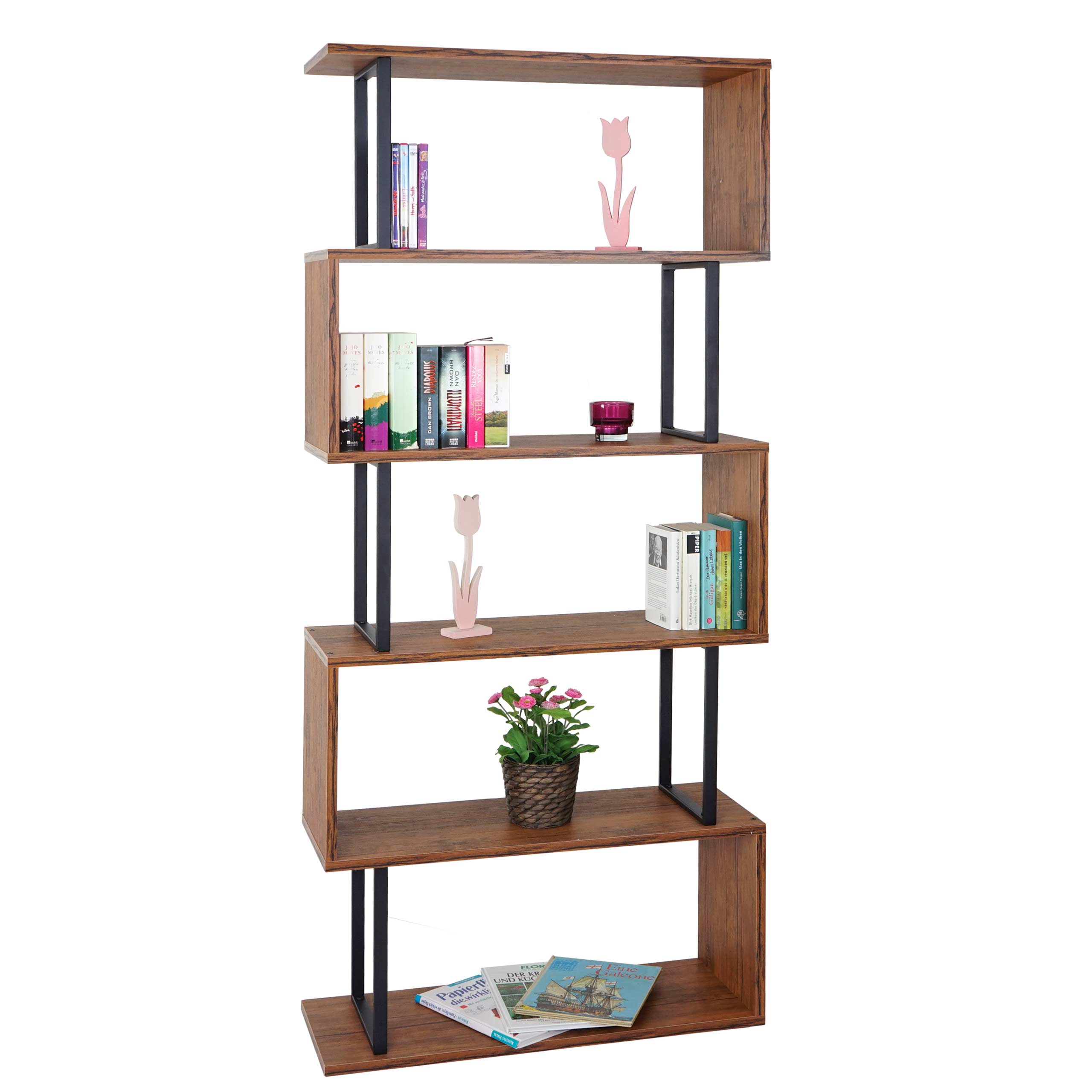 Regal Wildeiche Bücherregal Hwc A27 Standregal Wohnregal 183x80cm 3d