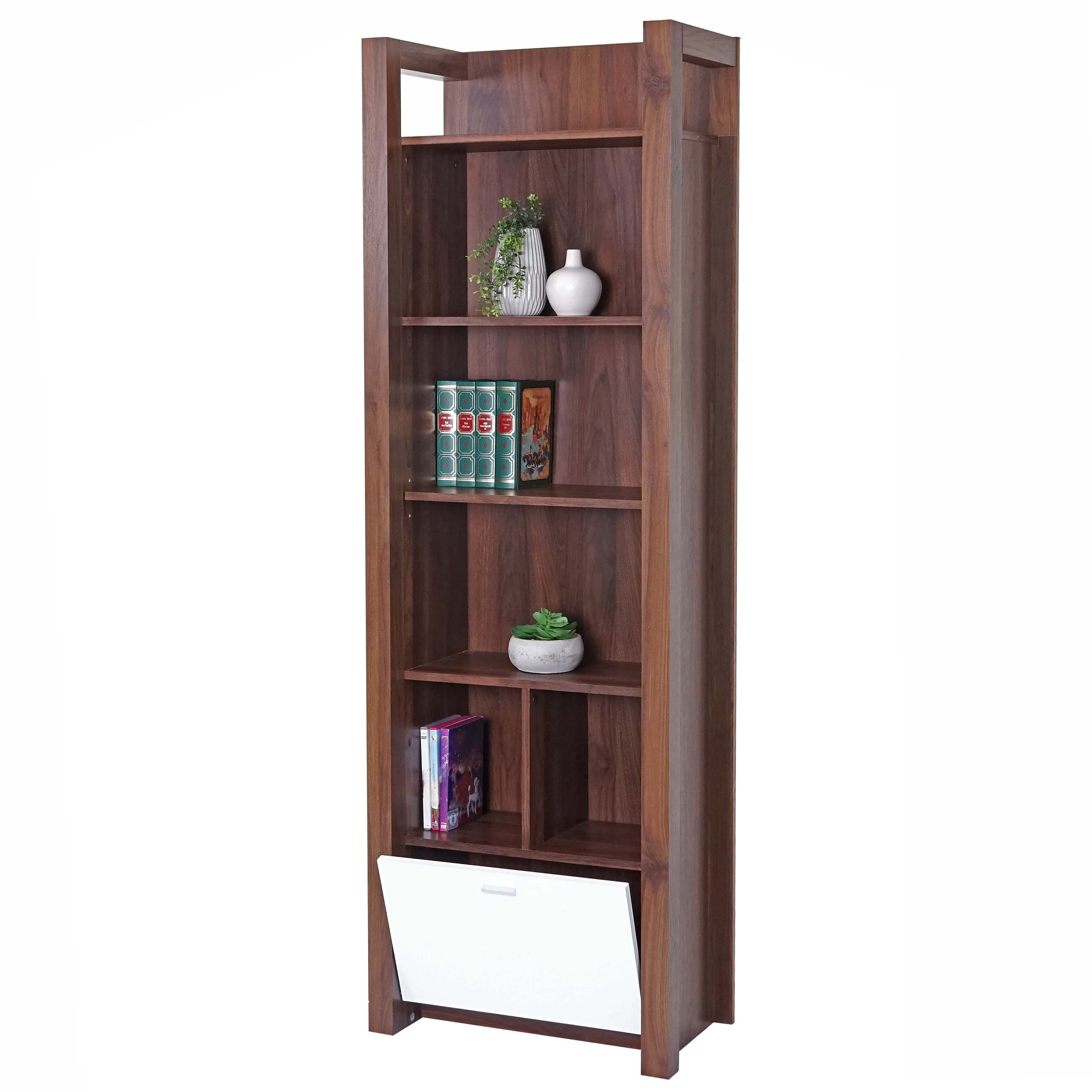 Regal Hwc B51 Standregal Bücherregal Medienregal 3d Struktur Walnuss Optik Hochglanz 180x58x33cm