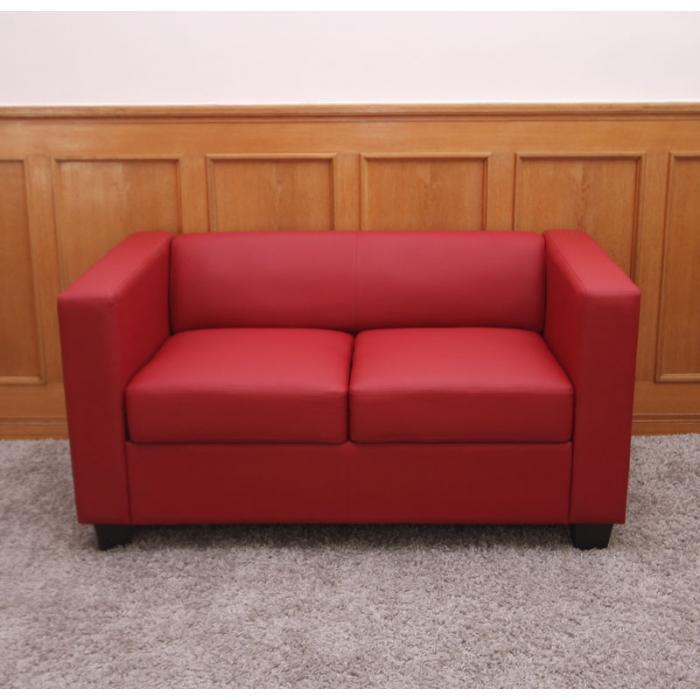 Lounge Sofa 2 Sitzer Outdoor 2er Sofa Couch Loungesofa Lille ~ Kunstleder, Rot