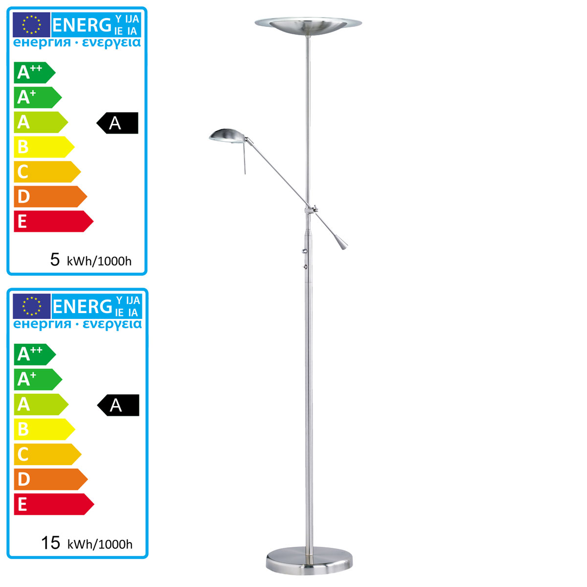 Trio Led Deckenfluter Reality Trio Led Deckenfluter Standleuchte Nickel Matt