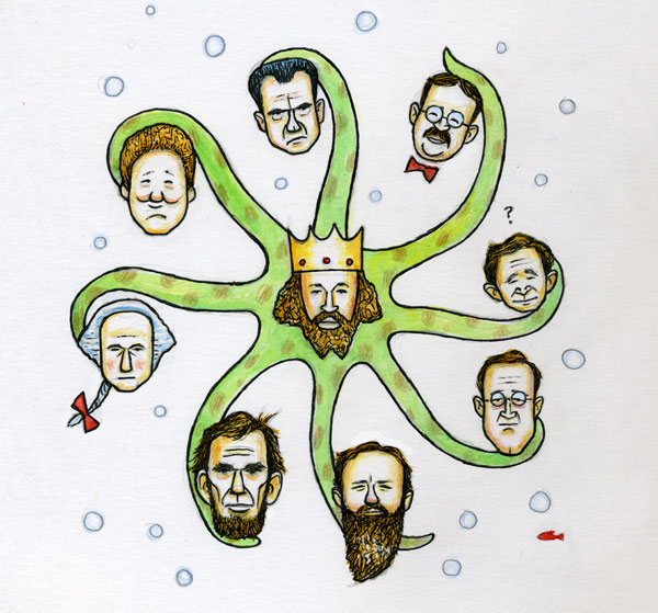 Octopus King - the genealogy of related presidents (Illustration By: Matt Wainwright)