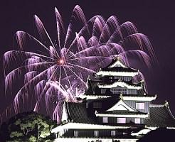 岡山城と花火