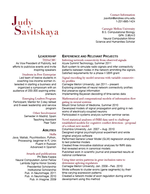 resume header font size