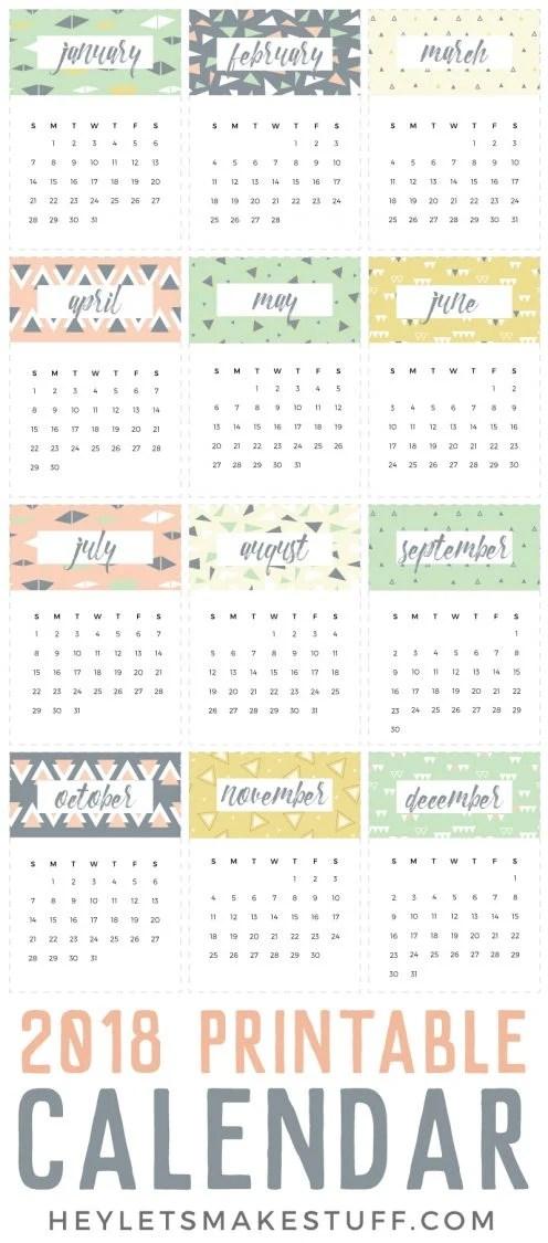 2018 Printable Calendar - a Fun Freebie! - Hey, Let\u0027s Make Stuff - printable calendar