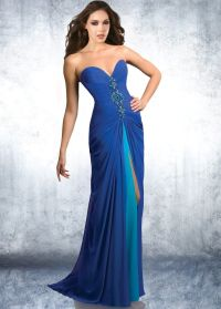 Different styles of blue formal dresses