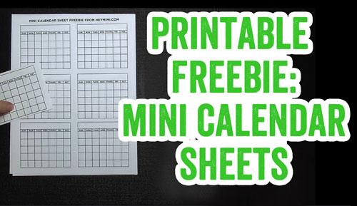 Printable Freebie Mini Calendars Hey Mimi!