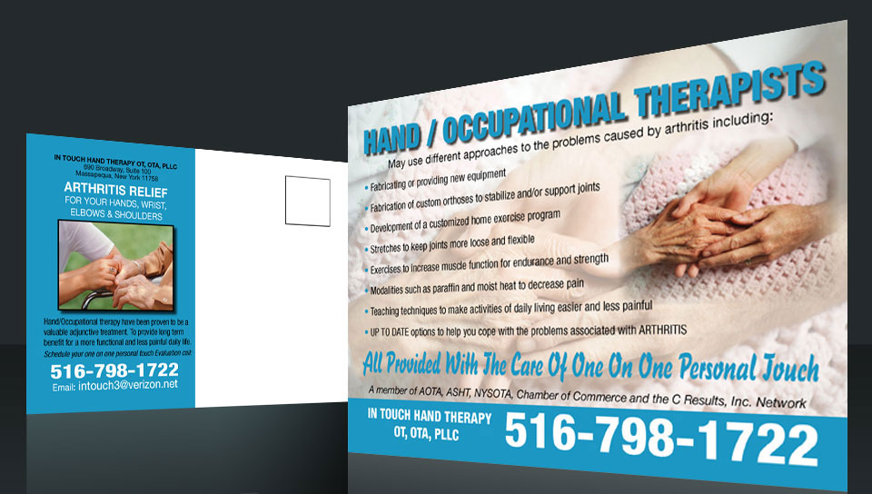 Postcard Design and Marketing Hand Therapy