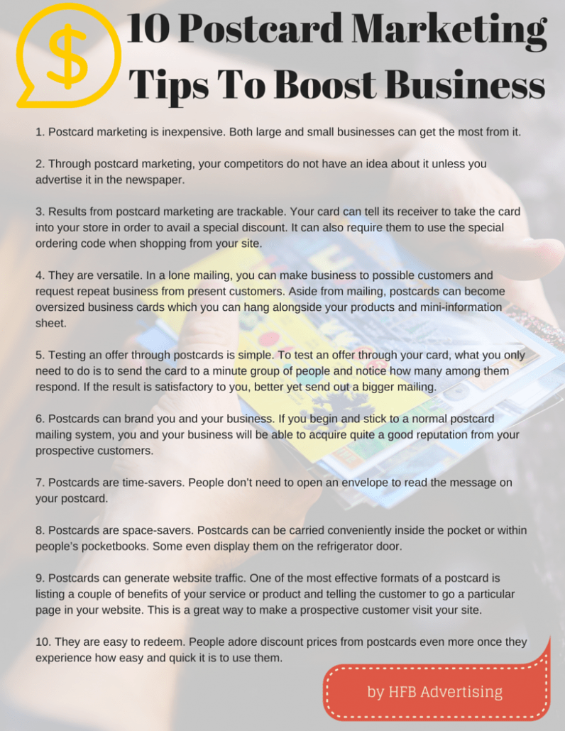 10 reasons to use postcard marketing one client got for Ideas on a postcard