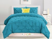 4-Pc Diamond Ruched Pinched Pleated Ruffled Comforter Set ...