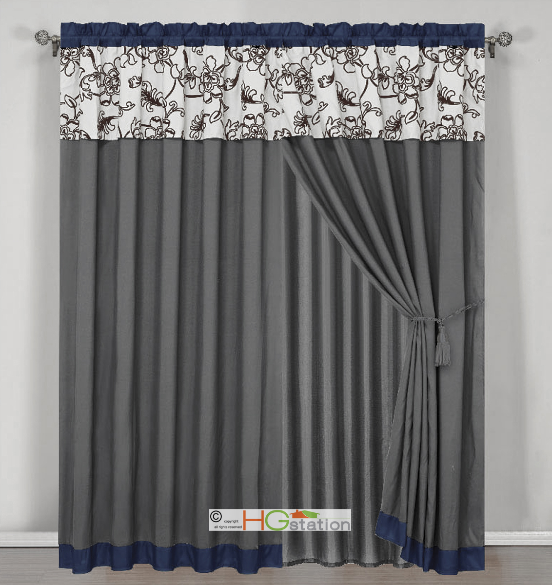 Grey Blue Curtains 4 Stripe Oasis Floral Garden Curtain Set Blue Gray Brown