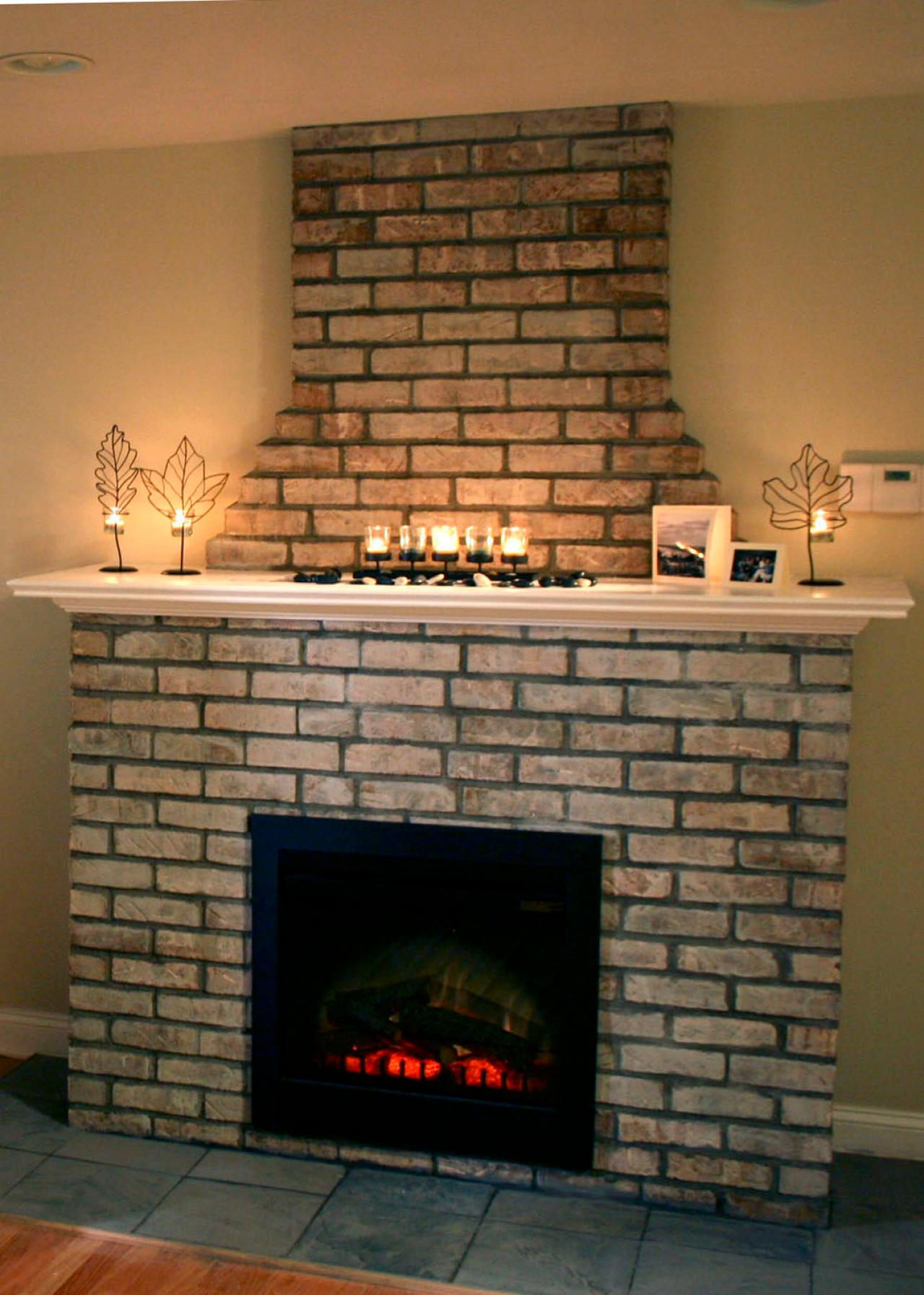 Build Your Own Fireplace Insert Building An Electric Fireplace With Brick Facade Hgtv