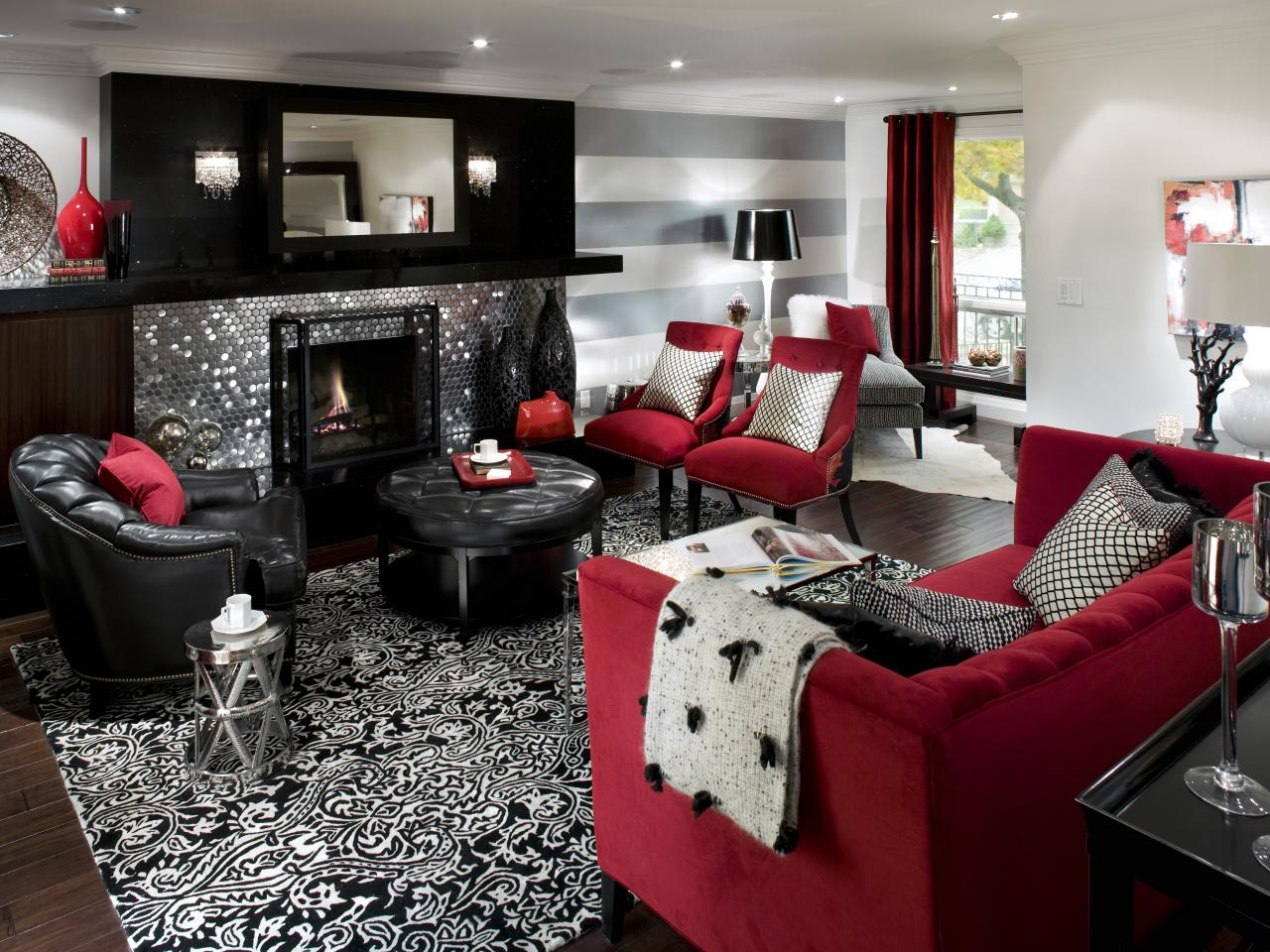 Design Ideas For Family Room With Fireplace Retro Red Black And White Family Room Hgtv