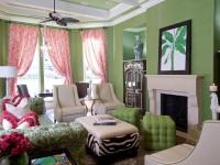 Pink and Green Living Room | HGTV