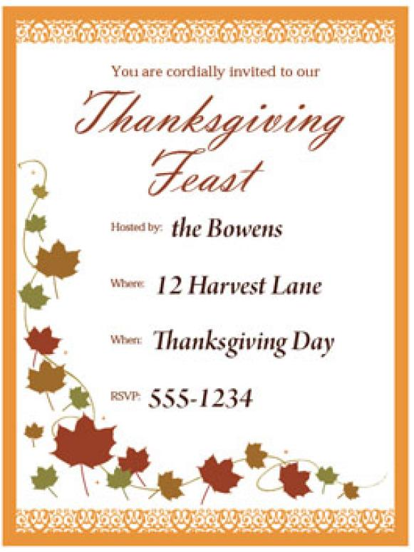 Print a customizable Thanksgiving invite from HGTV HGTV