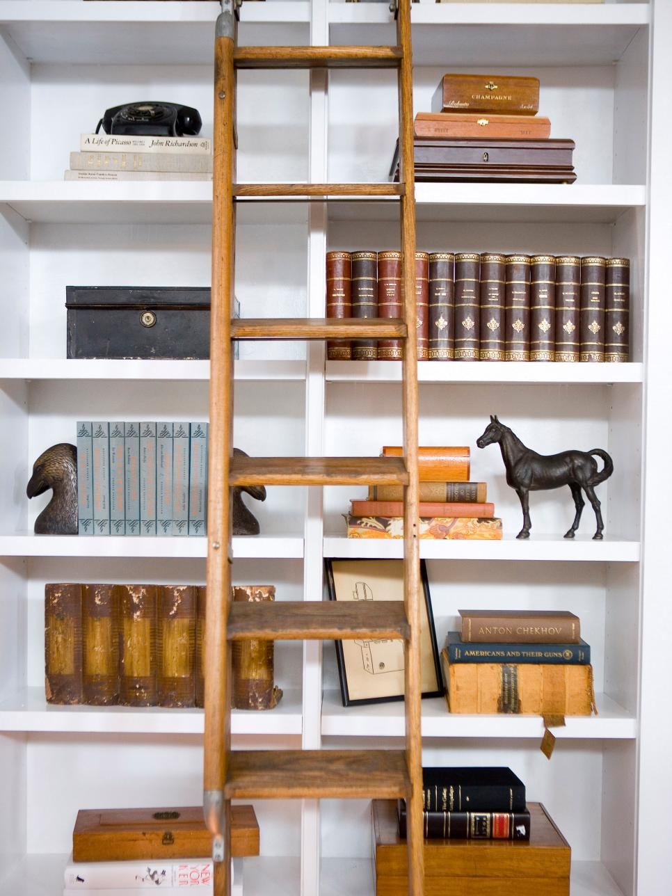 Built In Bookshelves With Wooden Ladder Hgtv