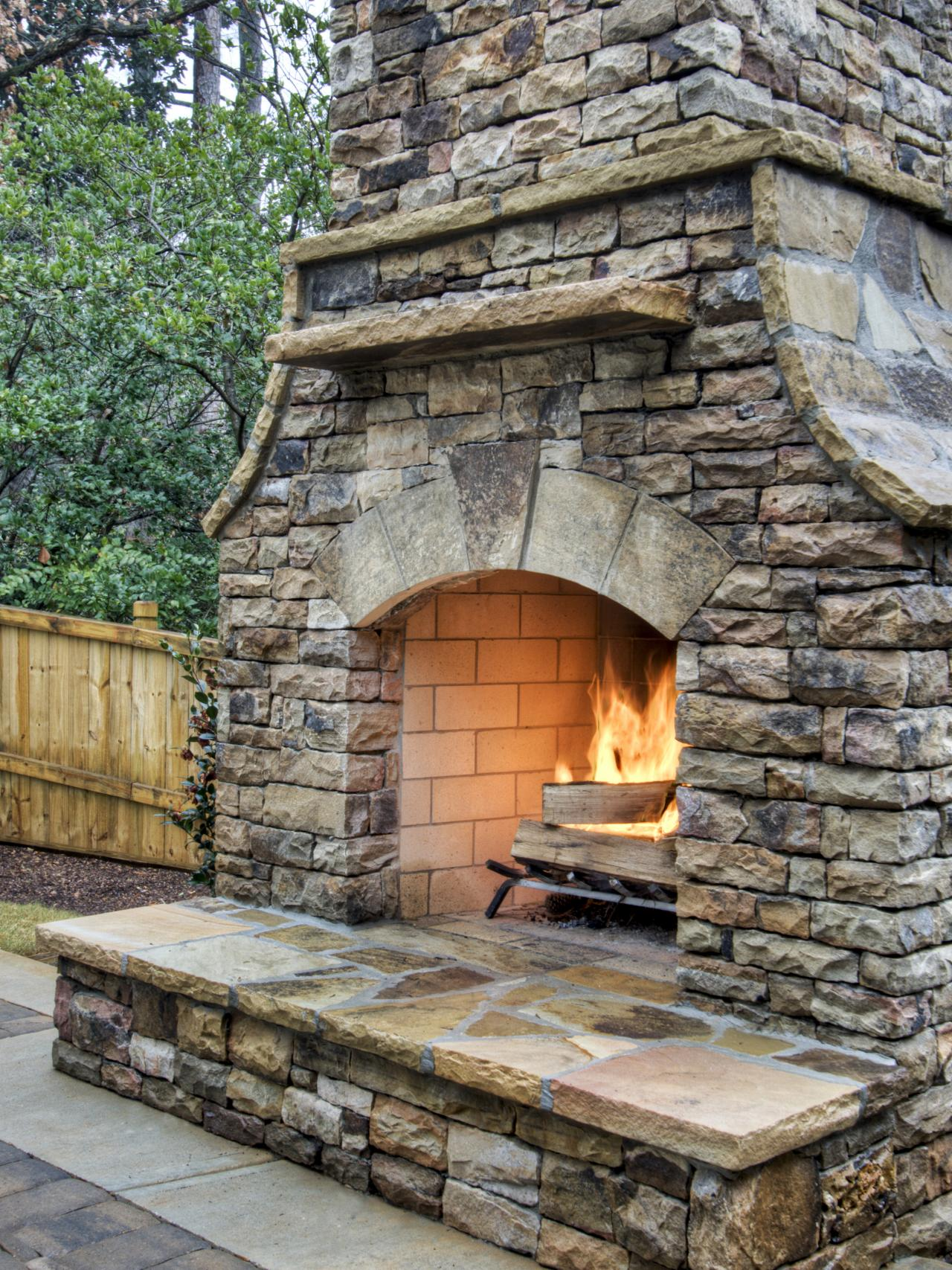 Fire Stones For Fireplace How To Build An Outdoor Stacked Stone Fireplace Hgtv