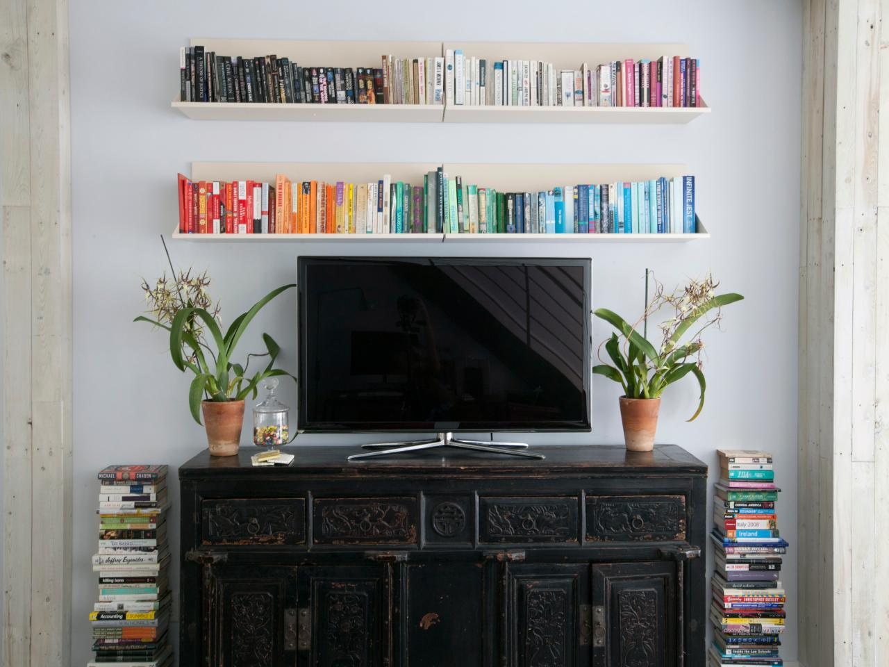 Decorating Ideas Around Tv On Wall 12 Ways To Decorate With Floating Shelves Hgtv 39s