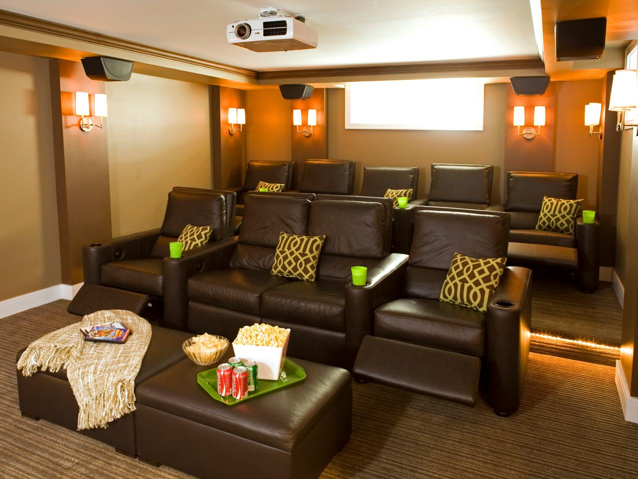 Theatre Room Furniture Contemporary Home Theater With Tiered Leather Seating Hgtv