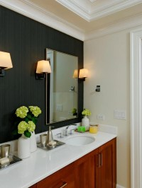 Contemporary Bathroom With Black Accent Wall