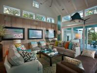 coastal living room with neutral sofas and brown chaise ...