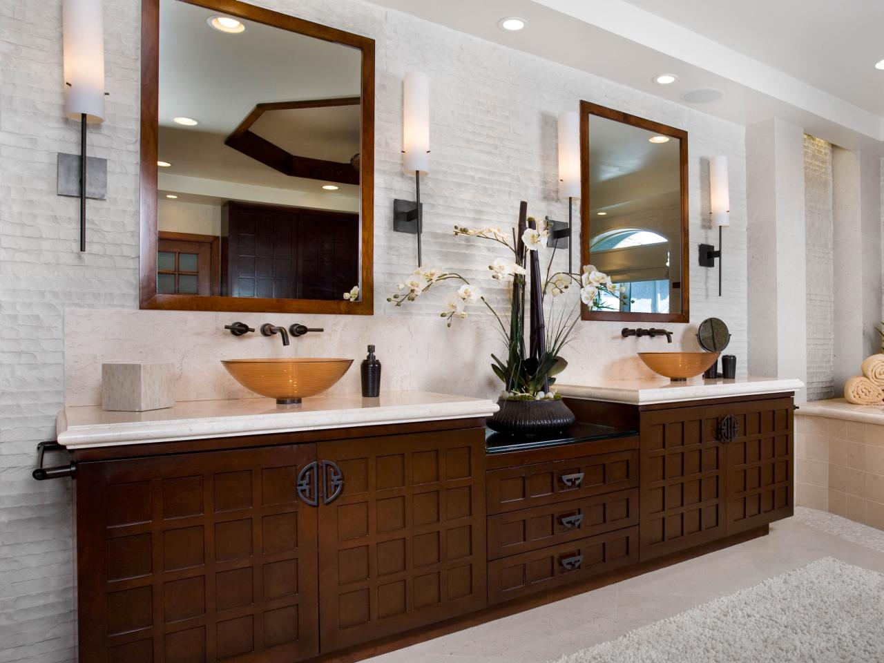 Asian inspired contemporary bathroom