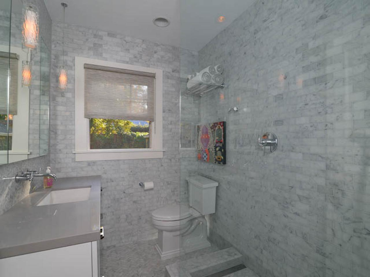 Gray White Bathroom Tile Contemporary Marble Bathroom Kerrie Kelly Hgtv