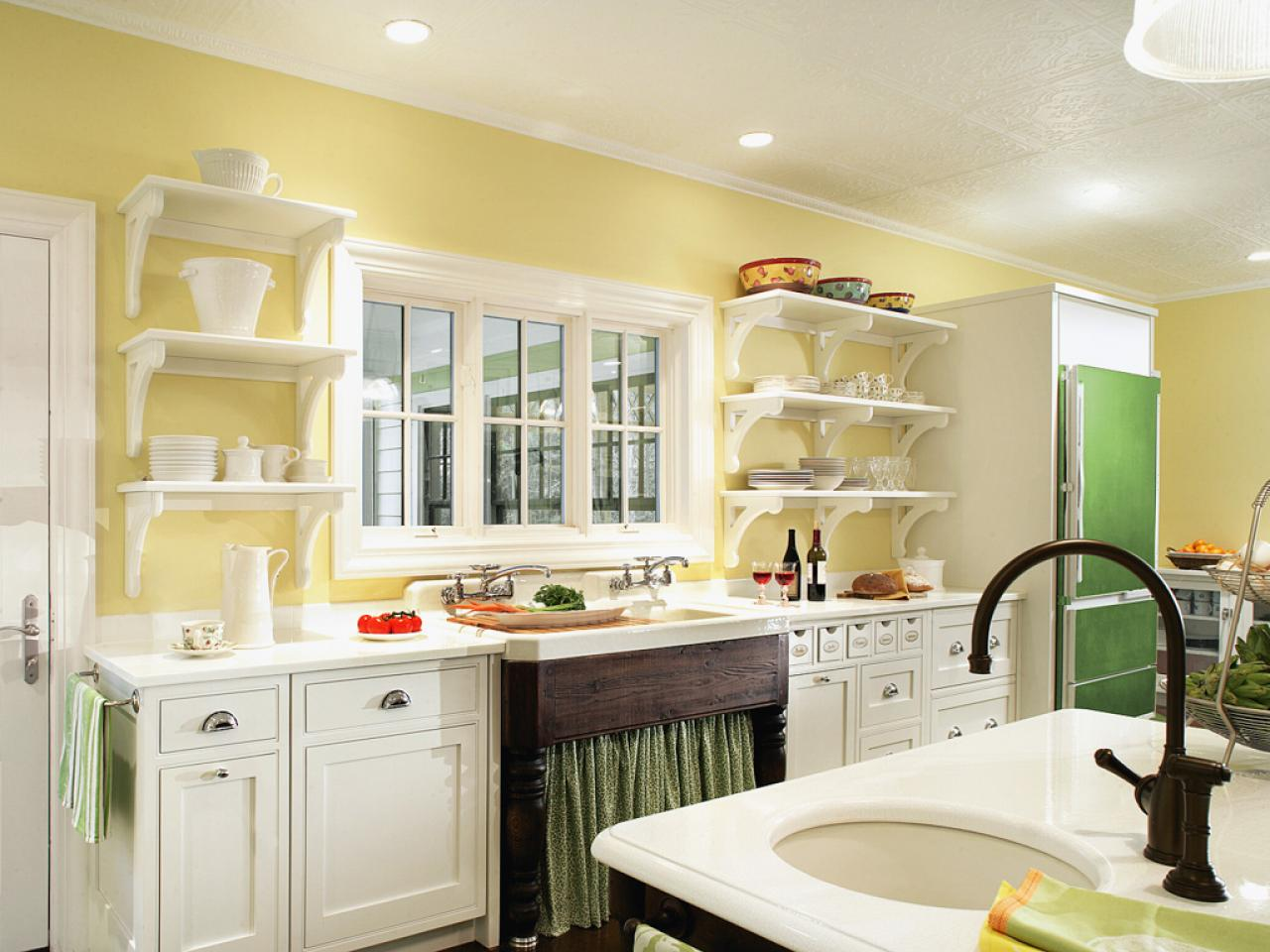 Kitchen Design Yellow Cabinets Painted Kitchen Shelves Pictures Ideas And Tips From Hgtv