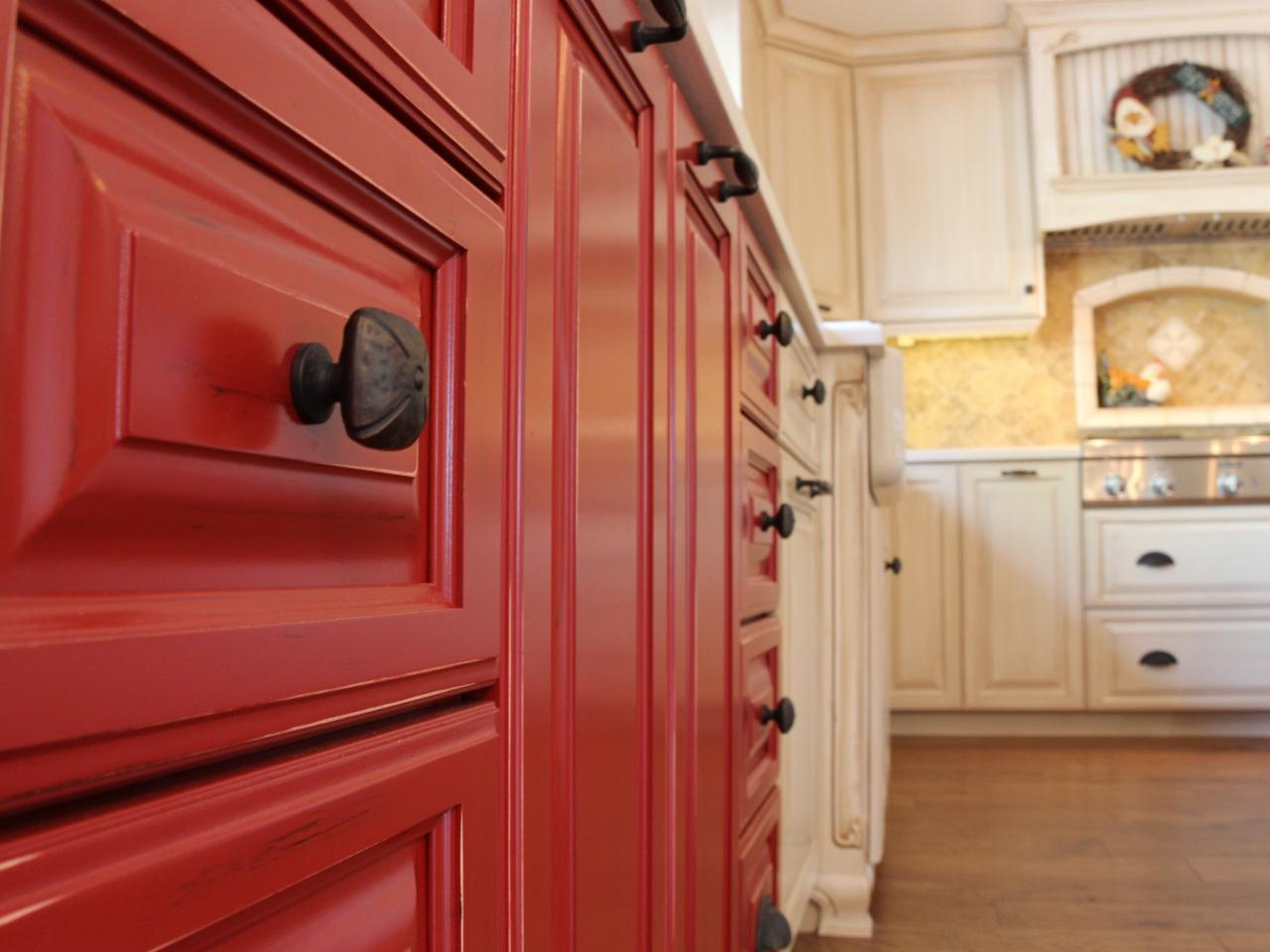 Kitchen Cabinets Red Red Kitchen Cabinets With Oil Rubbed Bronze Knobs Hgtv