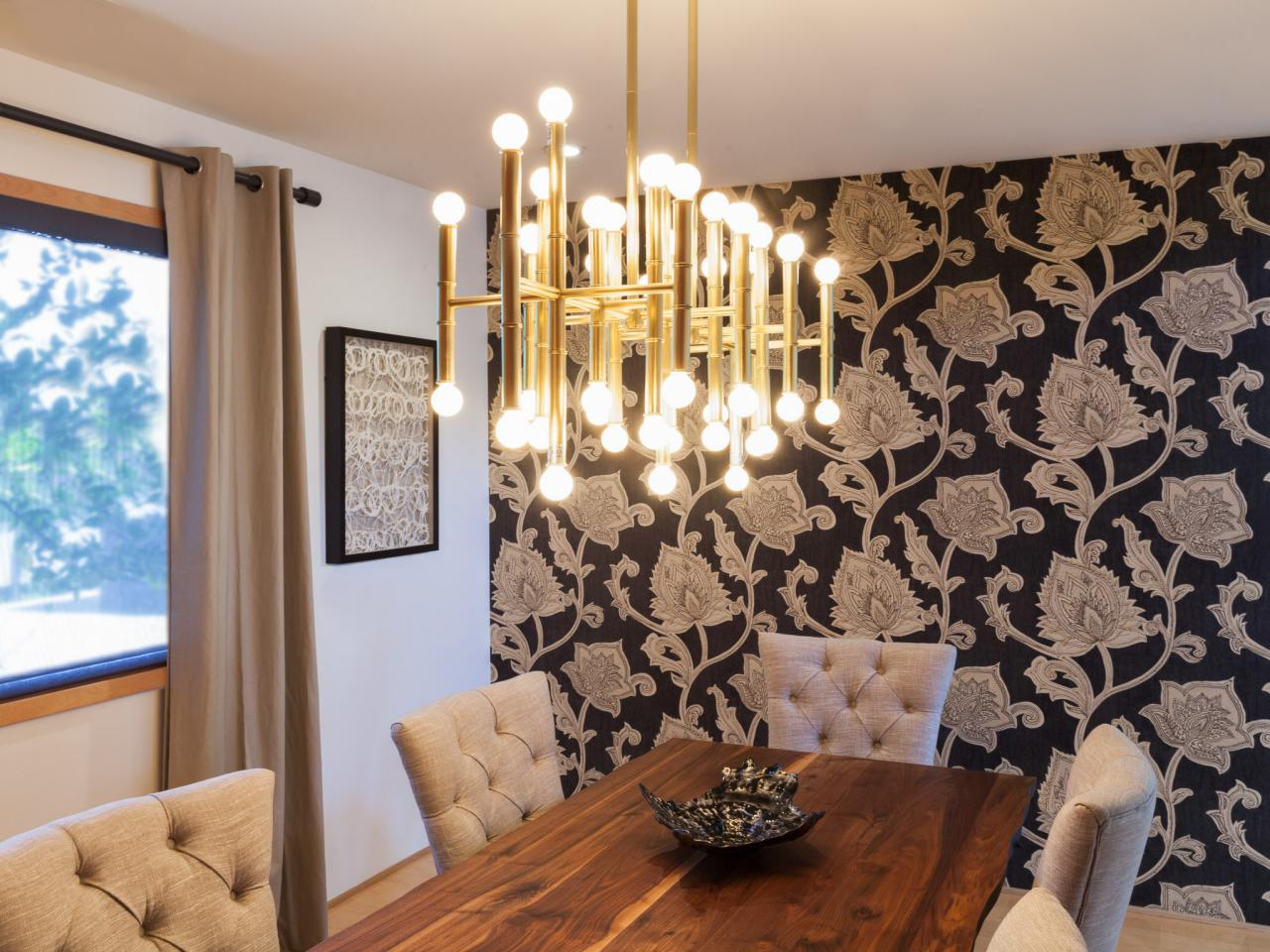 Dining Room Modern Chandelier Dining Room With Modern Brass Chandelier Hgtv