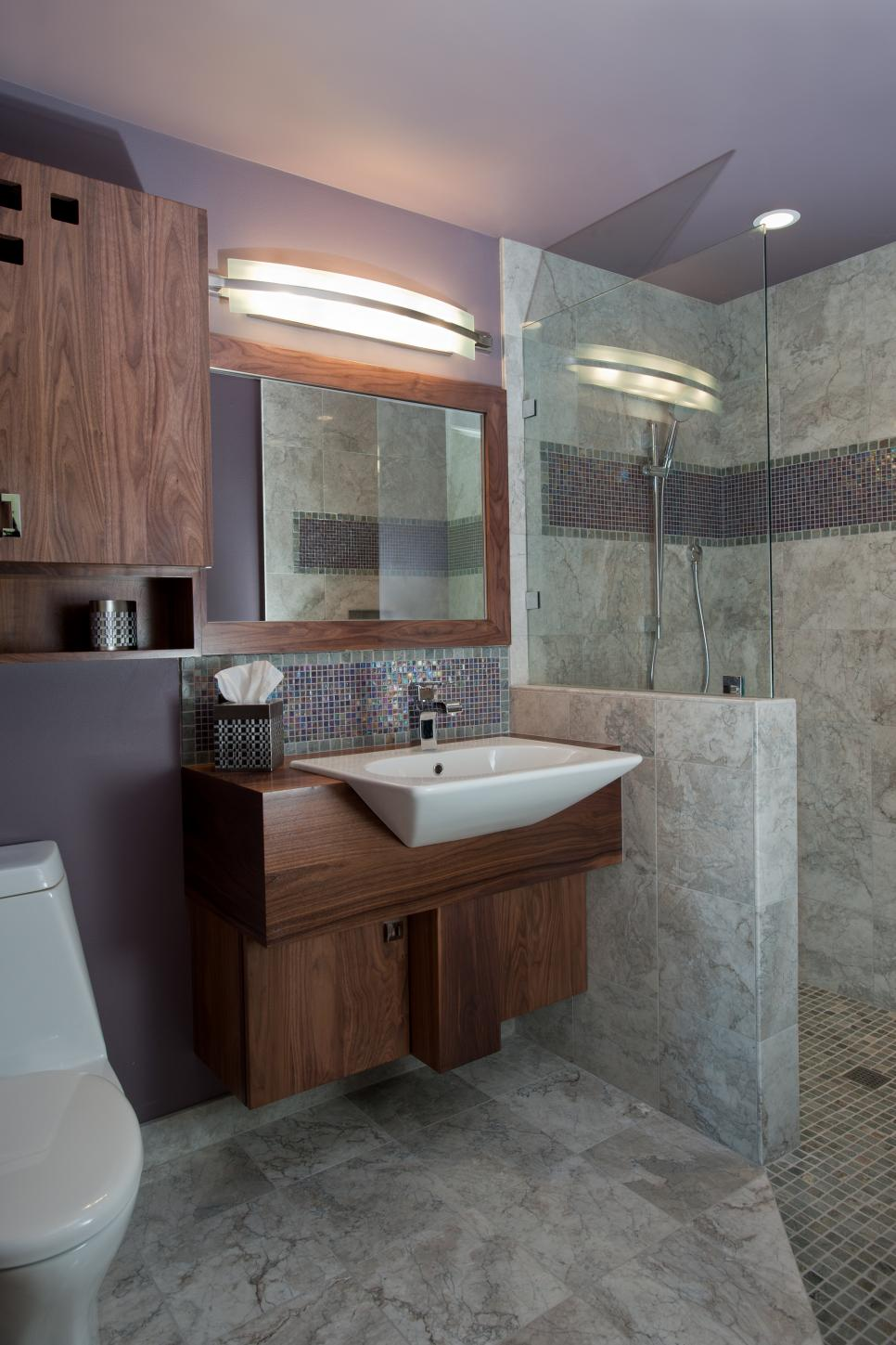 Lavender Midcentury Modern Bathroom With Gray Marble Tile And Purple Tile Accent Strip Hgtv