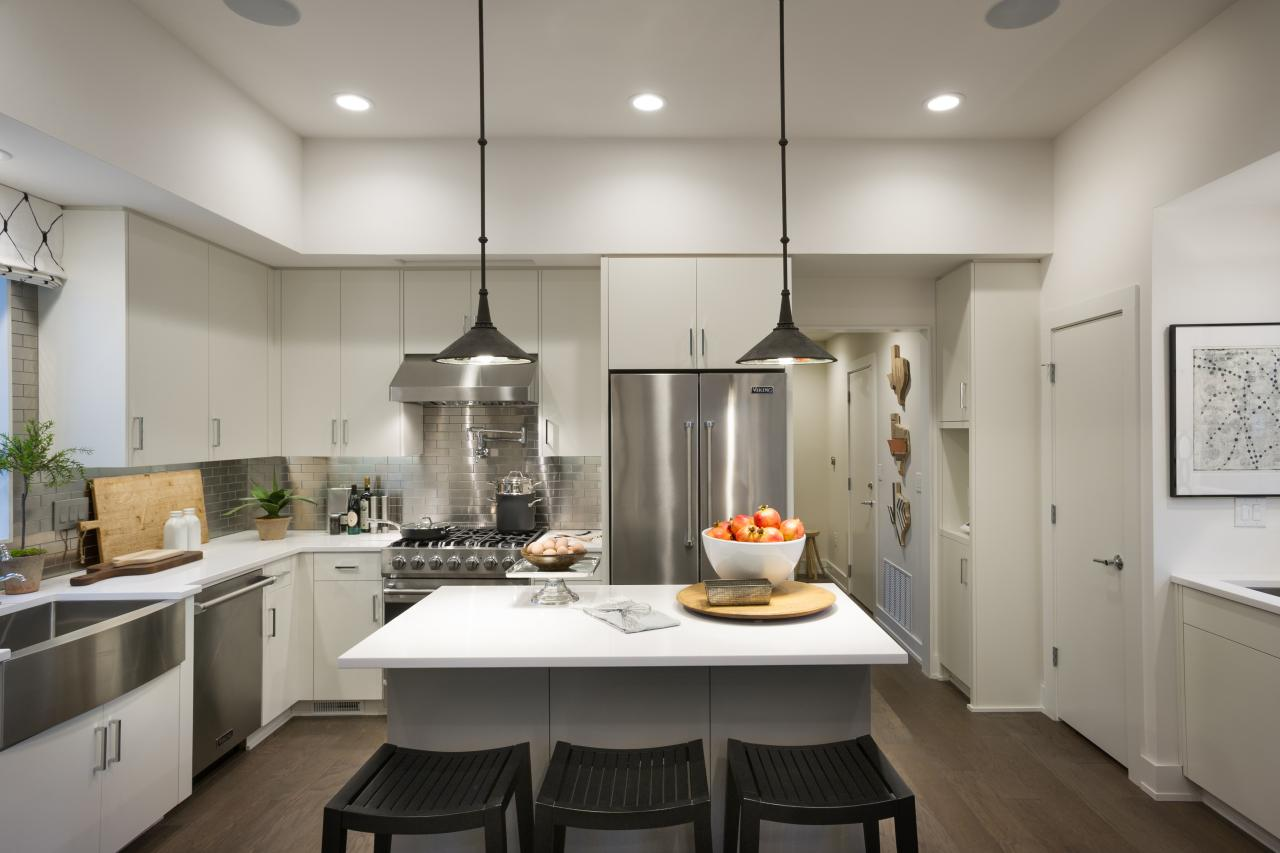 Modern Kitchen Fans Recessed And Hanging Lights In High Ceiling Hgtv