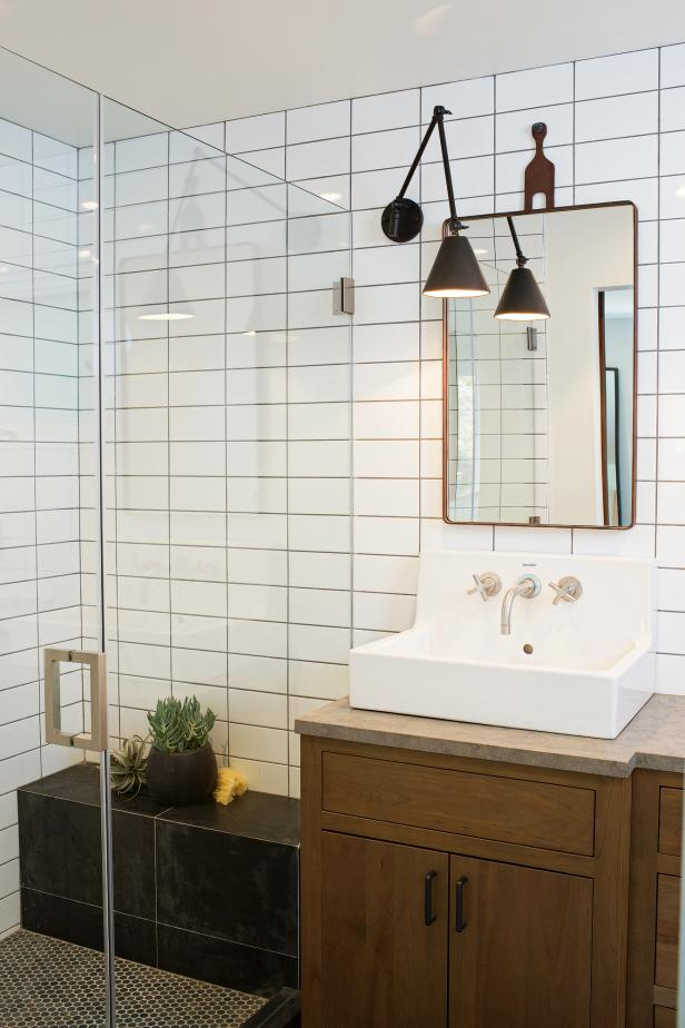 Wall Mirror Vintage Style Transitional Bathroom With Black White Tile Shower Hgtv