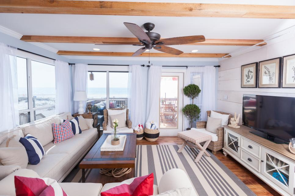 Traditional Beach House Living Room With Americana Details Beach - beach house living room