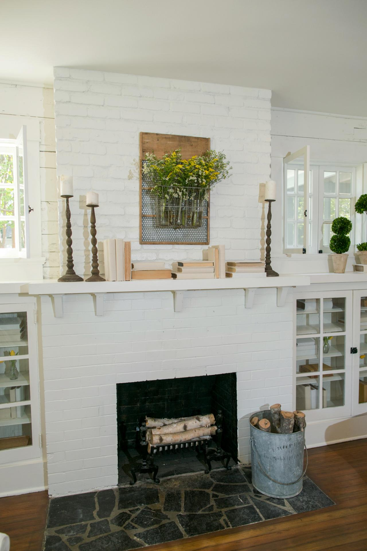 Bungalow Fireplace Mantel Fixer Upper Makeover A Style Packed Small Space Hgtv 39s