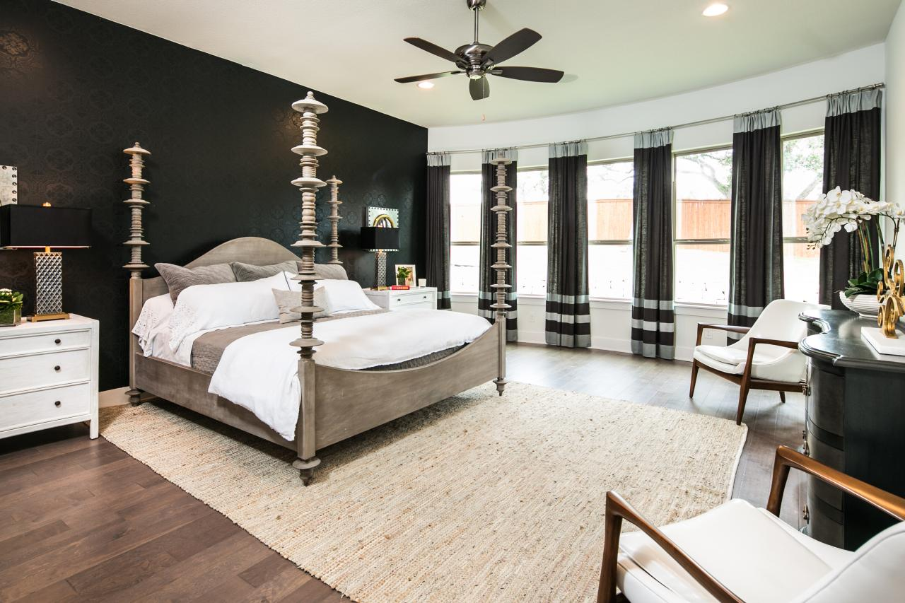 Black Four Post Bed Black Transitional Bedroom With Four Poster Bed Hgtv